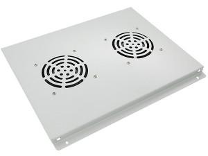 Блок вентиляторов потолочный для шкафов глубиной 600мм, 2 вентилятора, серый, GYDERS GDR-RCFB-602G