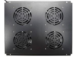 Блок вентиляторов потолочный для шкафов глубиной 800мм, 4 вентилятора, черный, GYDERS GDR-RCFB-804B
