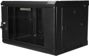 Шкаф настенный 19 6U, 600х450х368 мм, стеклянная дверь, черный, GYDERS GDR-66045B